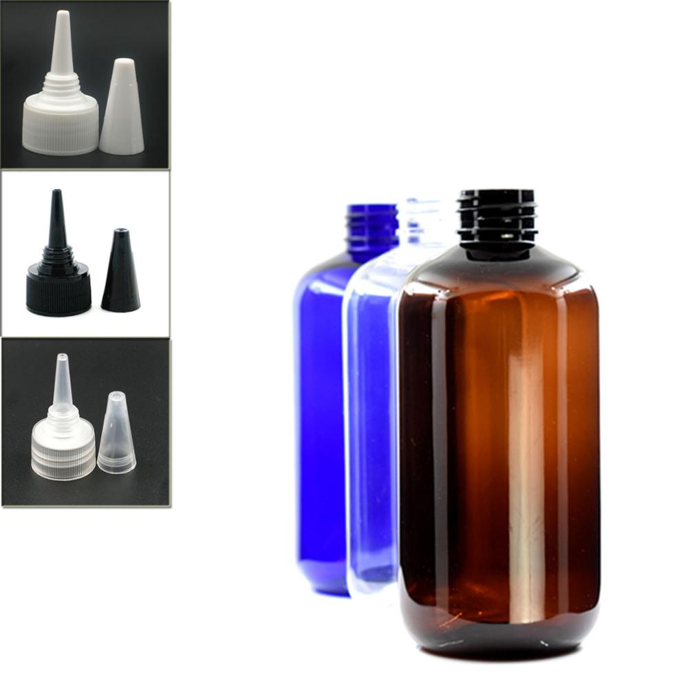 250ml Empty Boston Round Plastic Bottle , Clear Pet Bottle With Black/white/transparent Twist Top Caps, Pointed Mouth Top Cap