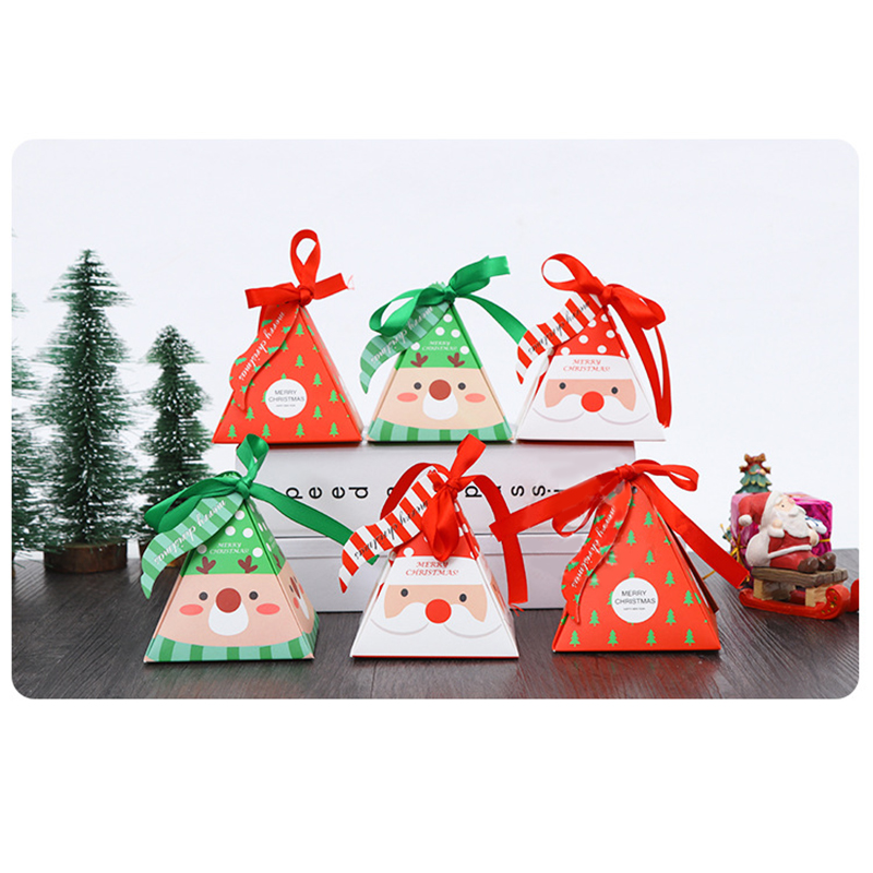 5pcs Christmas Candy Box Bag Tree Gift With Bells Paper Container Supplies Navidad Party