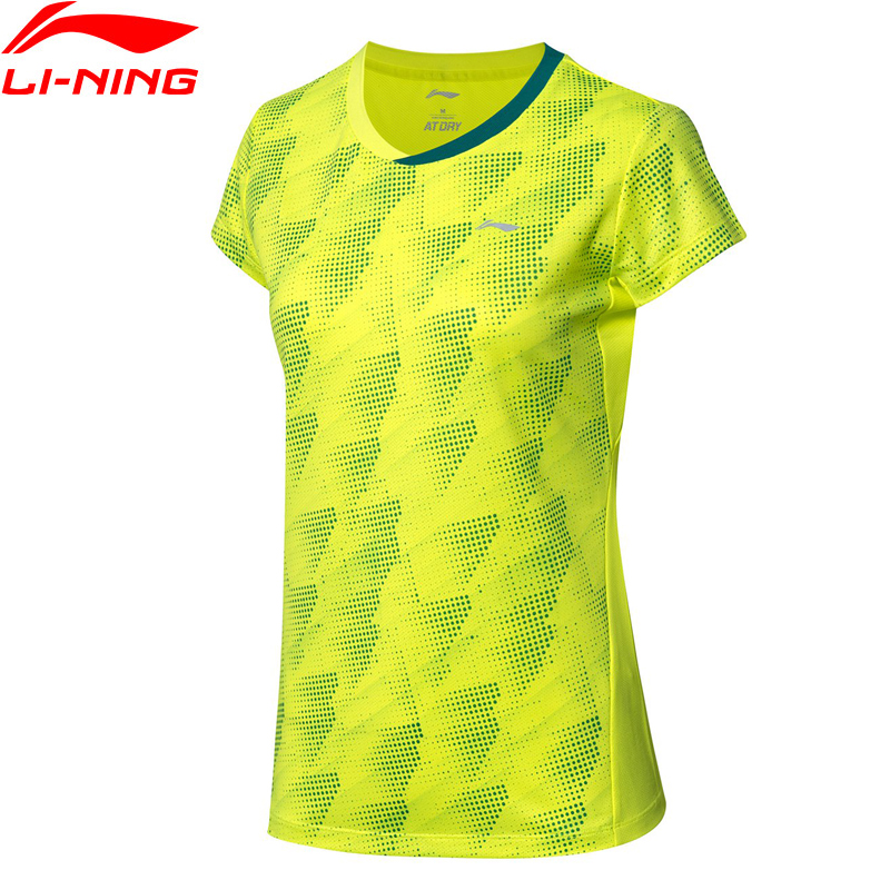 Li-Ning Women Badminton Competition T-Shirt 88%Polyester 12%Spandex AT DRY Li Ning LiNing Basic Sports Tops Tees AAYP046 WTS1491