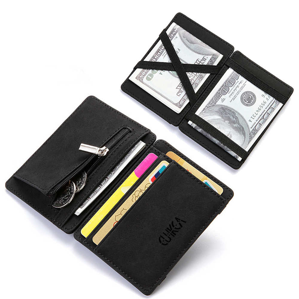 Upscale Upgrade Ultra Dunne Mini Portemonnee Mannen Vrouwen Business PU Leather Magic Kleine Portemonnee Portemonnee Credit Card Holder Portefeuilles