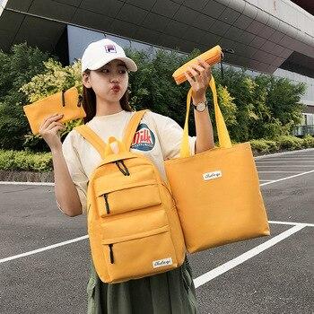 4 Pcs Set Teen Girls School Bags for Teenage Girls Student School Backpack Women Bagpack Black Schoolbag 2020 Summer New Black