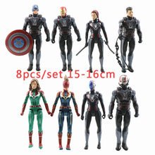 8pcs 16cm with Light PVC Action Figure Infinity War Marvel Super Hero Avengers 4 Iron Man Captain Ant man Collection Model ToyS