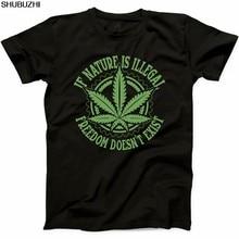 Shubuzhi novo verão dos homens natural engraçado t camisa se a natureza é ilegal conjunto legalizado erva daninha t camisa casual sbz1036