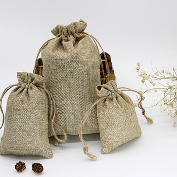 Natural Resuable Jute Linen Travel Bundle Pockets Environmentally Friendly Use Luggage Drawstring Jewelry Christmas Gift Bags