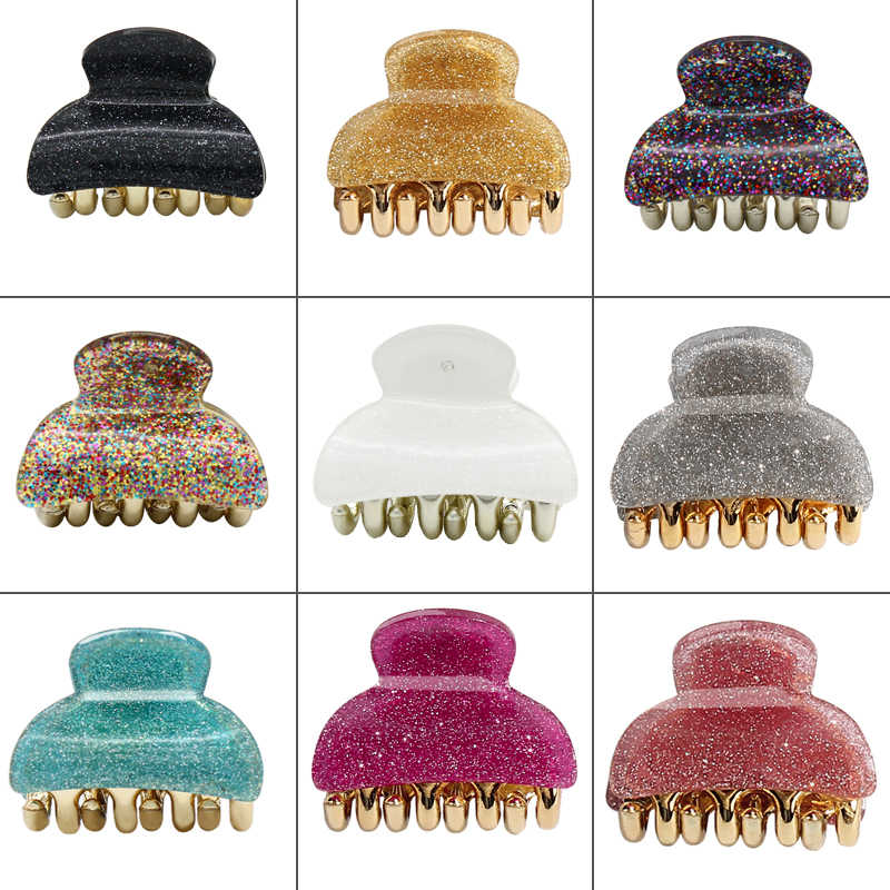 Flash Coloridas Meninas Grampos Caranguejo Mini Glitter Garra Do Cabelo Das Mulheres Barrettes Grampo de Cabelo Garras para Mulheres Acessórios Para o Cabelo Headwear
