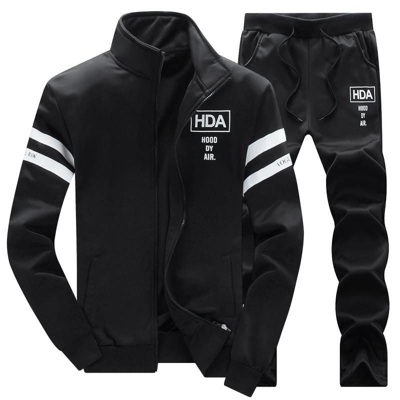Men Autumn Sets Sweatshirts+Pants New Fashion Men Sportswear Cardigan Coats+Trousers Thicker Sportswear Sets