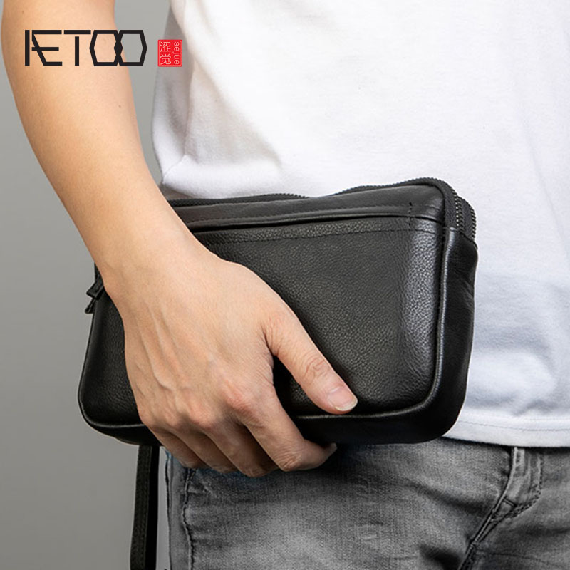 AETOO Hand Bag, Male Leather Handbag, Wristband Hand-grasp Bag, Trend Casual Men's Bag
