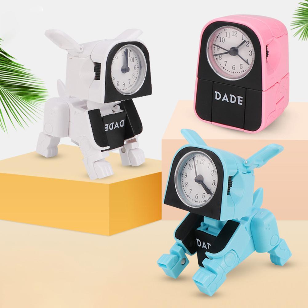 Cartoon Dog Alarm  Clock Transformer Toy Cute Cat Desk Watch For Bedroom Living Room