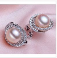 charming 10 11mm south sea lavender pearl earring 925S
