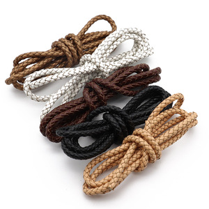 1meter 3/4/5/6mm Round Braided Genuine Leather Cords Vintage Black Coffee Cow Leather String Rope for Bracelet Jewelry Making(China)
