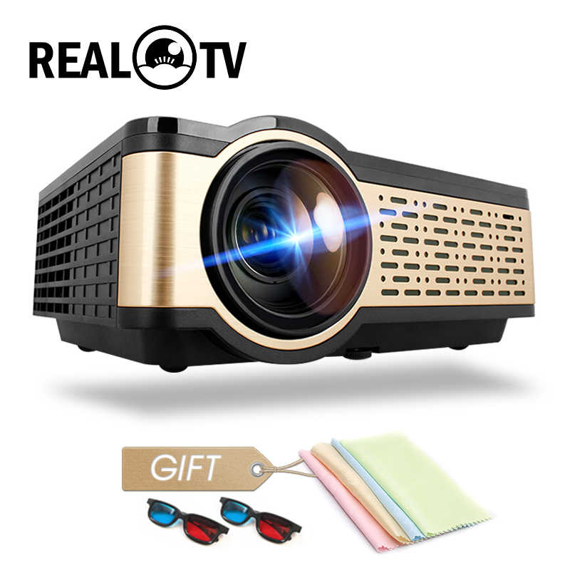 TV REAL W5 HD Mini proyector 4000 lúmenes Android WIFI Bluetooth soporte portátil 1080p para teléfono inteligente HDMI USB VGA SD con regalo