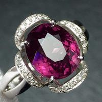 Fine Jewelry Real 18K White Gold 100% Natural Red Garnet Gemstone 4.2ct Female's Rings for Women's Fine Rings