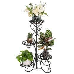 4 Potted Rounded Flower Metal Shelves Plant Pot Stand Decoration for Indoor Outdoor Garden Black Garden Flower Pot Shelf