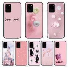 Castelo gato rosa capa de telefone casco para samsung galaxy s 6 7 8 9 10 20 mais borda e 5g lite ultra preto macio pára-choques