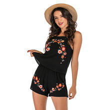Flower Embroidery Black Women Sets Strap Short Pants Backless Sexy Sleeveless Tops and Short Pants Beach Floral Sets Ladies(China)