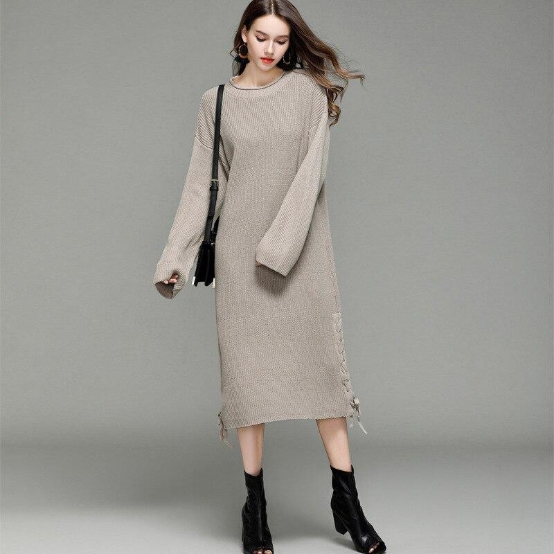 New Korean Knit Dress Loose Long Sweater Womens Sleeve Bottoming Shirt Chic women