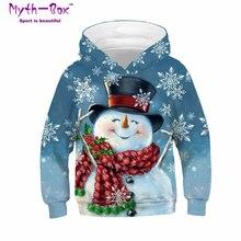 Осенне-зимние детские толстовки с капюшоном детские свитера с 3D принтом снеговика топы для детей, пуловер для подростков свитер с капюшоном для мальчиков и девочек 5-14 лет