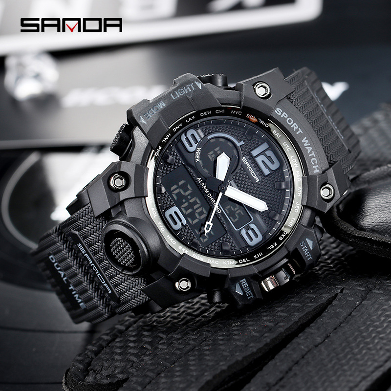 SANDA Dual Display Watch Men Watches Military Army Sport Style Brand Wrist Watch For Men Clock Male Wristwatch Waterproof Hours