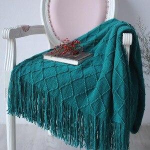 Image 1 - Nordic Gebreide Gooi Draad Deken Op Het Bed Bank Plaid Reizen Tv Dutje Dekens Zachte Handdoek Bed Plaid Tapijt