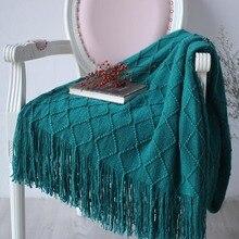 Manta nórdica de punto con hilo en la cama, sofá a cuadros, mantas de viaje, TV, siesta, toalla suave, cama, tapiz a cuadros