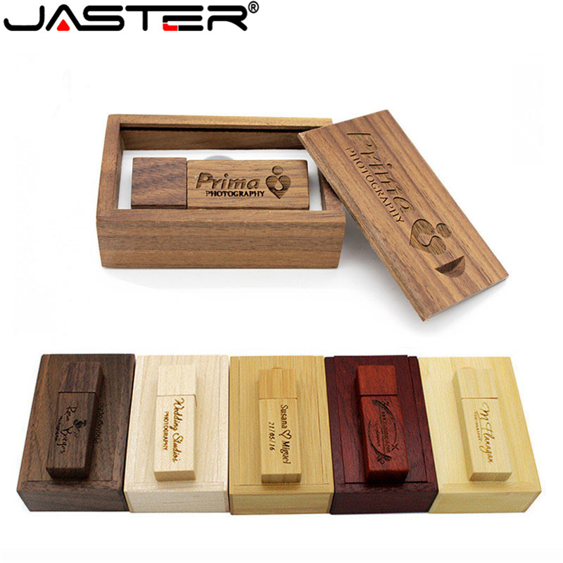 JASTER USB2.0 Wooden Bamboo With BOX Usb Flash Drive Personal Present Memory Stick Pen Drive 4GB 16GB 32GB 64GB Free Custom Logo