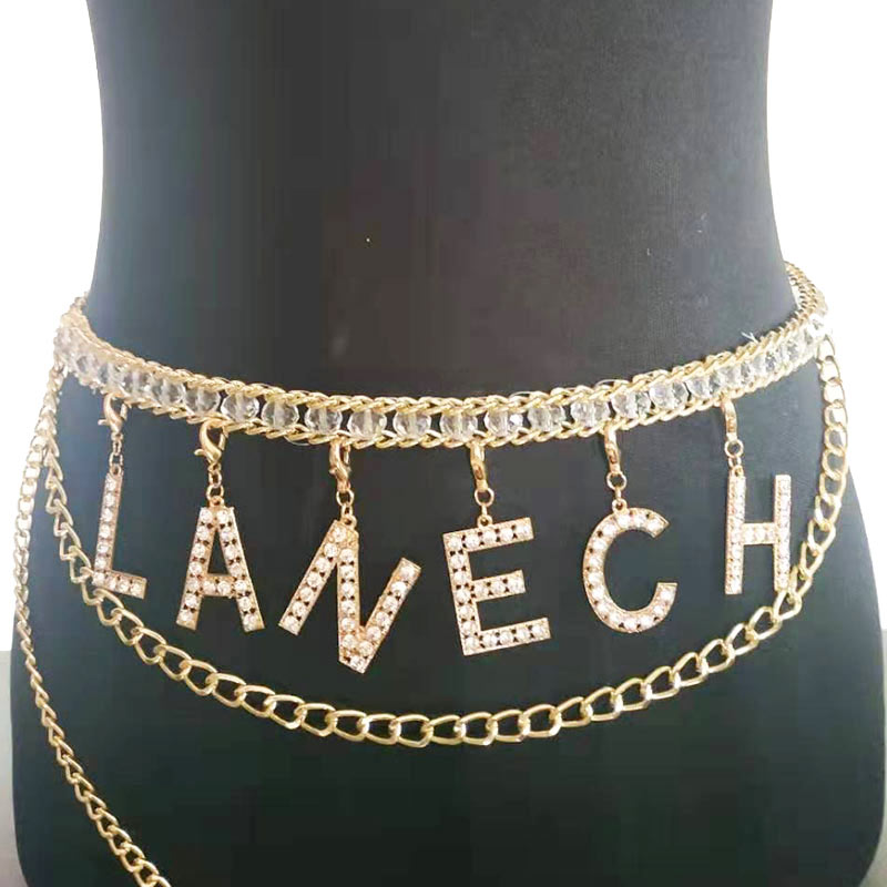 Full Rhinestone Body Chain Letter Waist Chain for Women NASTY SLUT Punk Sexy Crystal Waist Belt Body Belly Jewelry