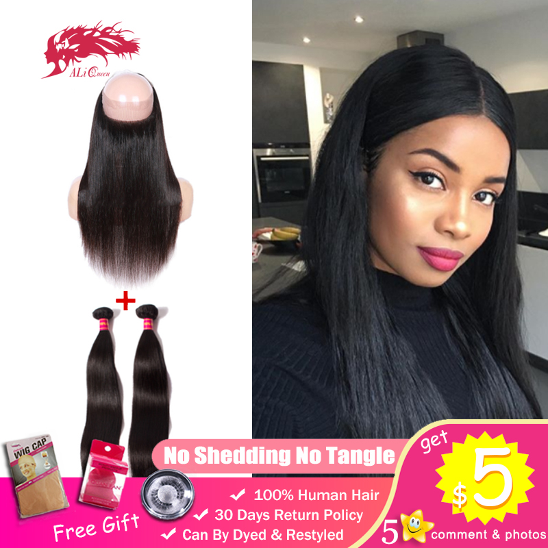 Ali Queen Unprocessed One-Donor Virgin Brazilian Straight Human Hair 2 Bundles With 360 Lace Frontal Closure Pre-Plucked Nautral