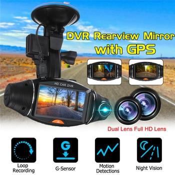 2.7inch 1080P HD Dual Lens Dash Cam GPS Car DVR Video Recorder Camera G-Sensor 140 degree IR lens Night vision Dash Cam Rearview