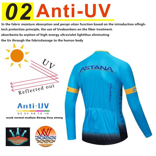 Astana conjunto camisa de ciclismo pro equipe manga longa roupas dos homens inverno ciclismo roupas lã térmica ropa hombre quente 3