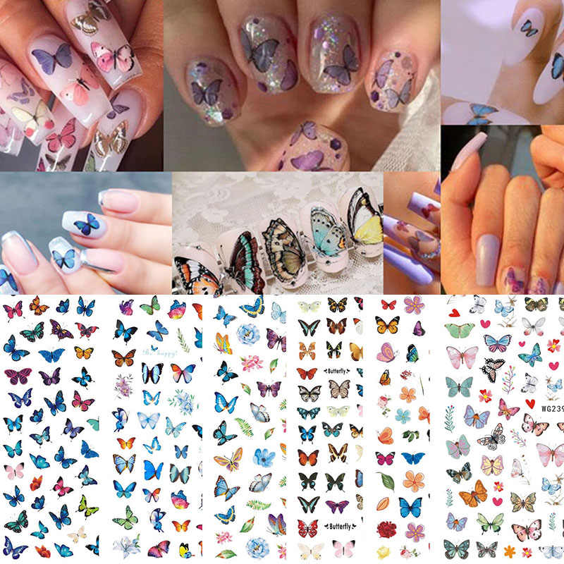3D Schmetterling Nail art Aufkleber Decals Dekoration Mix Bunte Muster SEC88