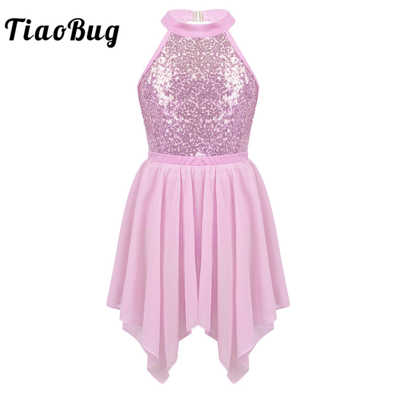 TiaoBug Kids Sequins Gymnastics Leotard With Chiffon Tutu Ballet Skirt Set Girls Figure Skating Dress Lyrical Dance Costumes