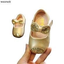 Weoneit/обувь принцессы для малышей; кожаные туфли с блестками и бантом для маленьких девочек; сезон весна-осень; обувь для девочек для свадьбы и вечеринки