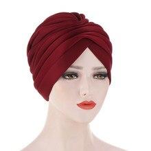 Chapeau Turban musulman pour femme, couvre-chef chaud, en coton, élastique, couleur unie, inde, hiver