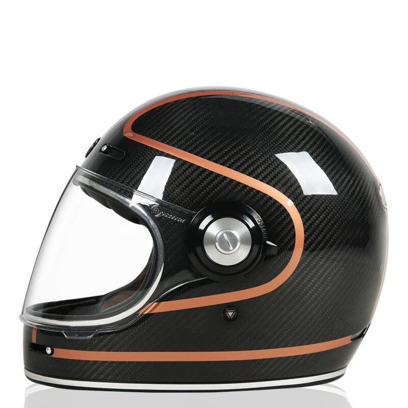 Motorcycle Carbon Fiber Full Face Vintage Helmet Street Cafe Racer pour Halley Moto Casco Retro Classic Bullitt