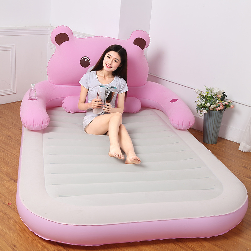 Pink/Gray Deluxe Inflatable Headboard Air Bed Queen Built In Electric Air Pump King Inflatable Blow Up Sleeping Mattress