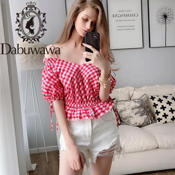 Dabuwawa Sexy Off Shoulder V-Neck Plaid Blouse Women Bow Lantern Sleeve Ruffle Elastic Hem Blouses Shirts Female D18BST356