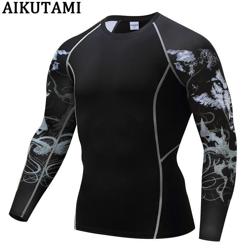 Rashguard Mma Long Muay Thai T Shirt For Men Print Quick Dry Compression Mma King Boxing Tshirt Gym Fitness Workout Clothing