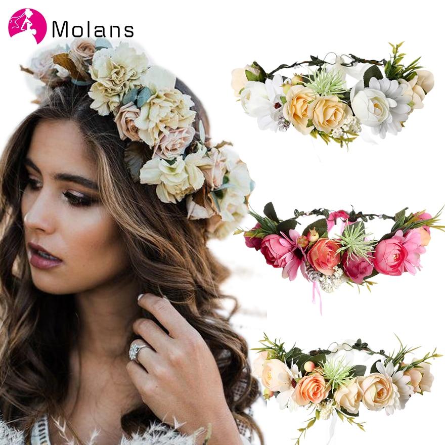 Molans 2020 Spring Bohemian Flower Crowns Beach Hawaii Floral Garland Romantic Faux Rose Wedding Wreaths New Flower Headband