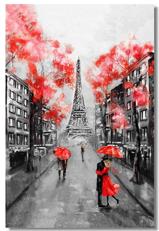 Custom Printing Oil Painting Eiffel Tower Poster France Paris Landscape Wall Sticker Black White Red Modern Art Wallpaper 0644 Aliexpress
