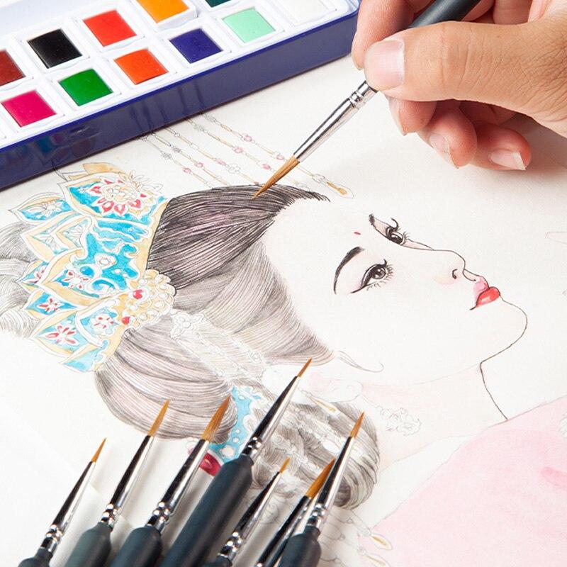 Hot 9pcs/set Miniature Paint Brush Set Fine Detail Art Oil Painting Watercolor Brush Set PLD
