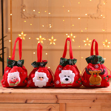 Christmas gift bag flannelette cartoon Santa Claus snowman elk candy handbag childrens apple decoration supplies