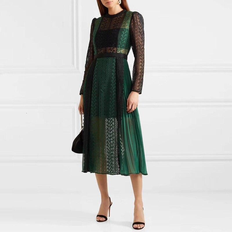 Luxe piste Designer auto Portrait robe 2019 automne mode dentelle épissure évider longue robe femmes partie nuit Femme Vestido - 5