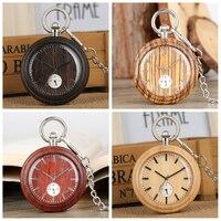 Wooden Watch Bronze Ebony Quartz Fob Watches Open Face Rough Chain Pendant Clock Unique Mens Pocket Watch Gifts Relogio De Bolso