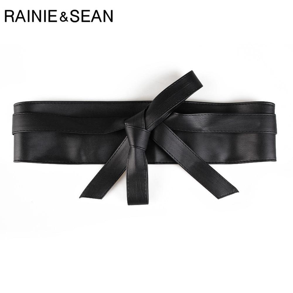 RAINIE SEAN Cummerbund Extra Wide Belt for Women Corset Waist Belt Self tie Bow Camel Gold Silver Black Ladies Belts for Dresses in Women 39 s Belts from Apparel Accessories