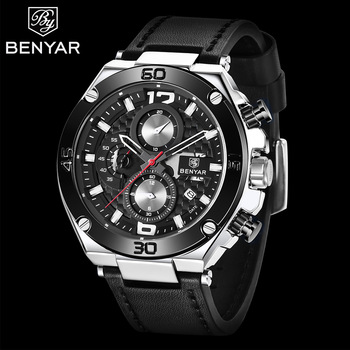 BENYAR luxury brand men's analog sports leather watches men military watch army man date quartz watch Male watch 2019 men s army military watch man quartz clock relogio masculino luxury brand men analog digital leather sports watches