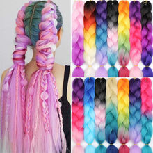 100G 24Inch Glowing Braid Single Ombre Color For Hair Wholesale Synthetic Hair Extension Twist Jumbo Box Braiding Hair