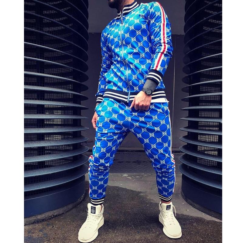 New 3D Print Fashion Brand Zipper Hooded Gymnastics Fitness Running Pants + Sports Jacket Autumn And Winter Hoodies Men's Suit