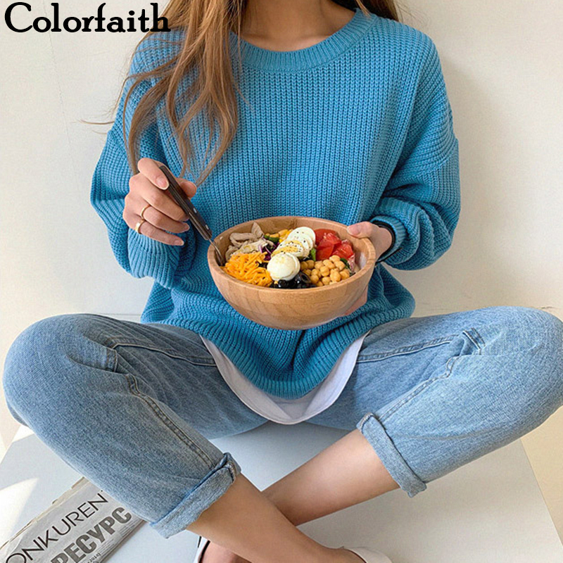 Colorfaith 2019 New Autumn Winter Women Sweater-pullovers Loose Casual Warm Minimalist Knitting Elegant Ladies Solid Tops SW8168