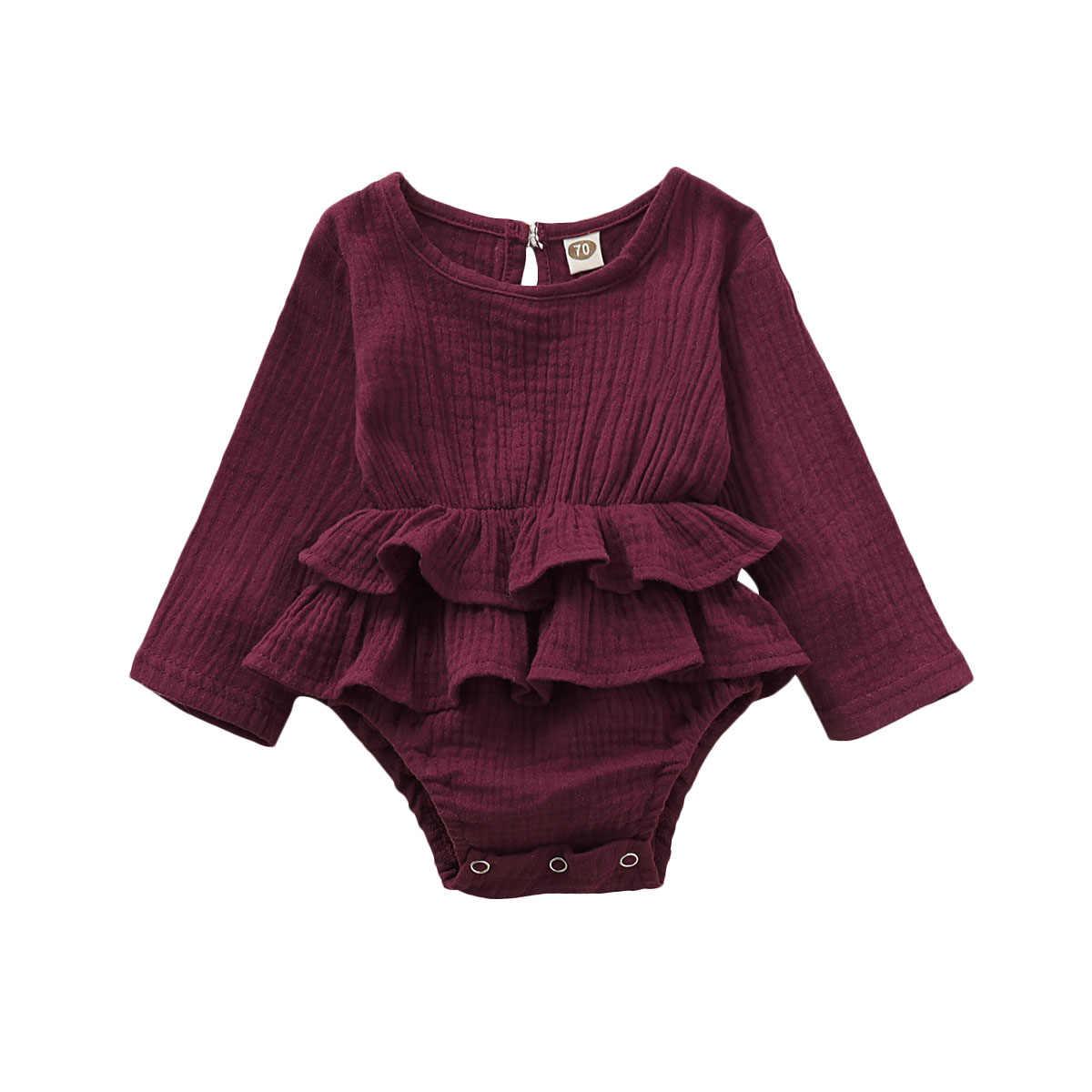 Bodysuits de otoño invierno Pudcoco recién nacido bebé Niñas Ropa de manga larga caliente Bodysuit vestido de una pieza trajes de 6-24 meses