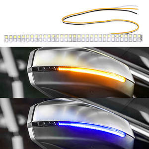 LEEPEE Car-Styling LED Flowing Turn Signal Strip Light Car Modified Streamer Strip Amber Blue Car Rearview Mirror Indicator Lamp